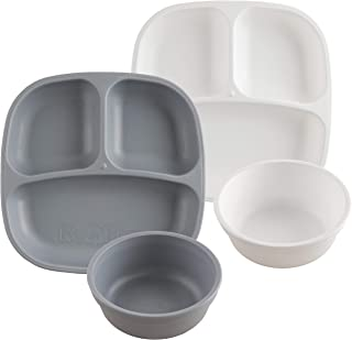 product image for Re-Play Made in USA 4pk Starter Dining Set of 2 Divided Plates with 2 Matching Bowls in Grey and White. Made from Eco Friendly Heavyweight Recycled Milk Jugs - Virtually Indestructible!