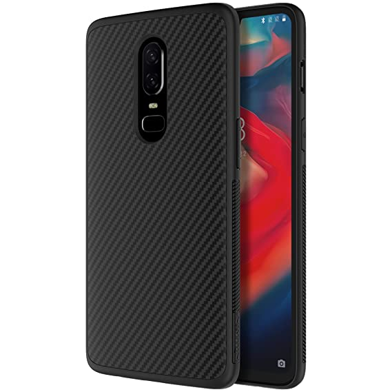 size 40 bea0e 9a4cd Oneplus 6 Case, Nillkin Carbon Fiber Premium Bumper Slim Case Back Cover  [Compatible with Magnetic Phone Holder] for Oneplus 6 - Black