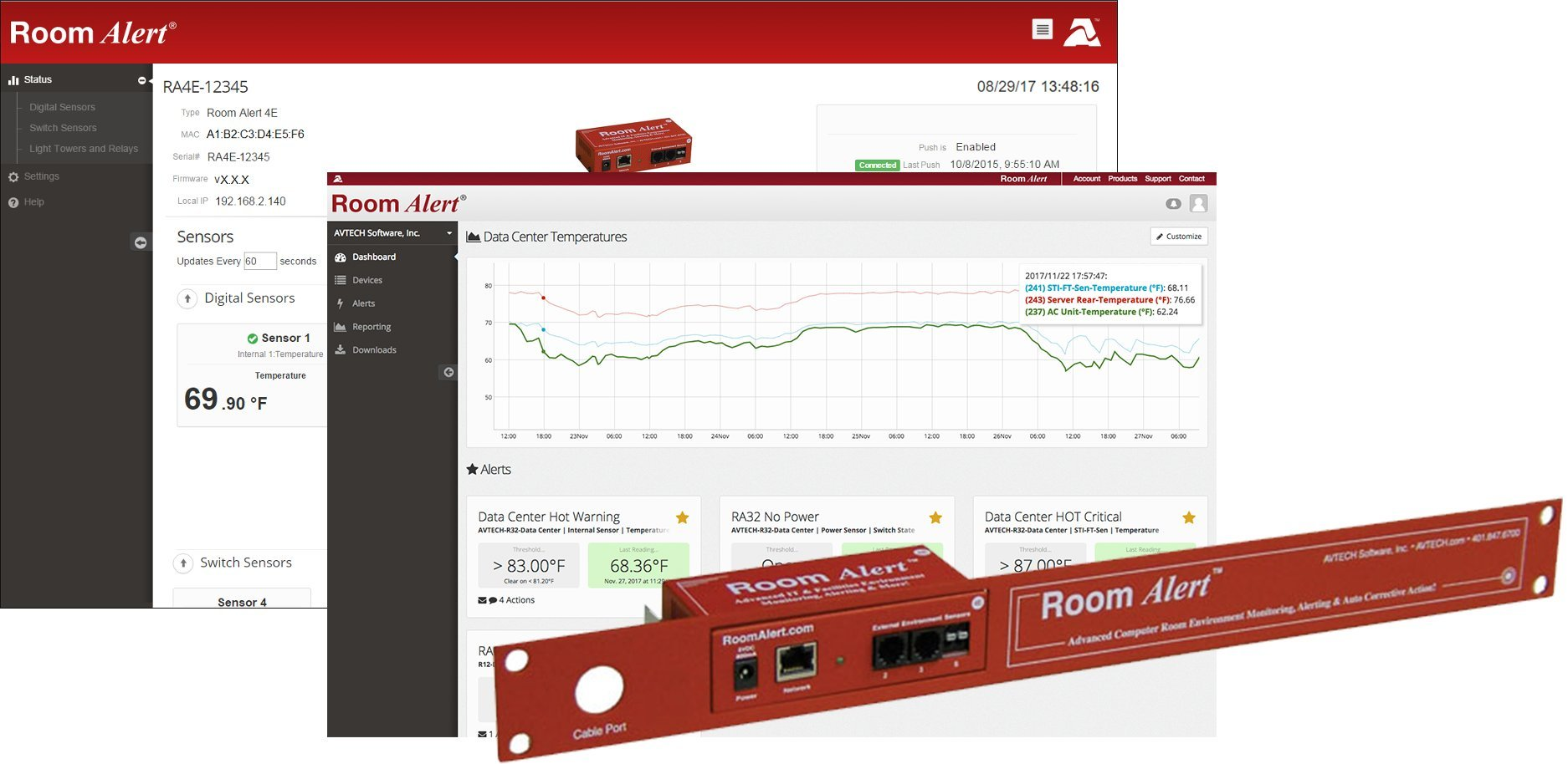 Room Alert 4ER - Environment Temperature Monitor w/2 External Digital Ports and 1 External Switch Channel