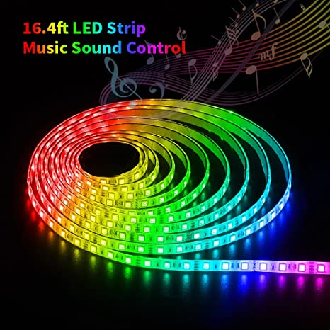 Amazon solmore led strip lights sync to music led lights 164ft solmore led strip lights sync to music led lights 164ft5m rgb led strip aloadofball Gallery