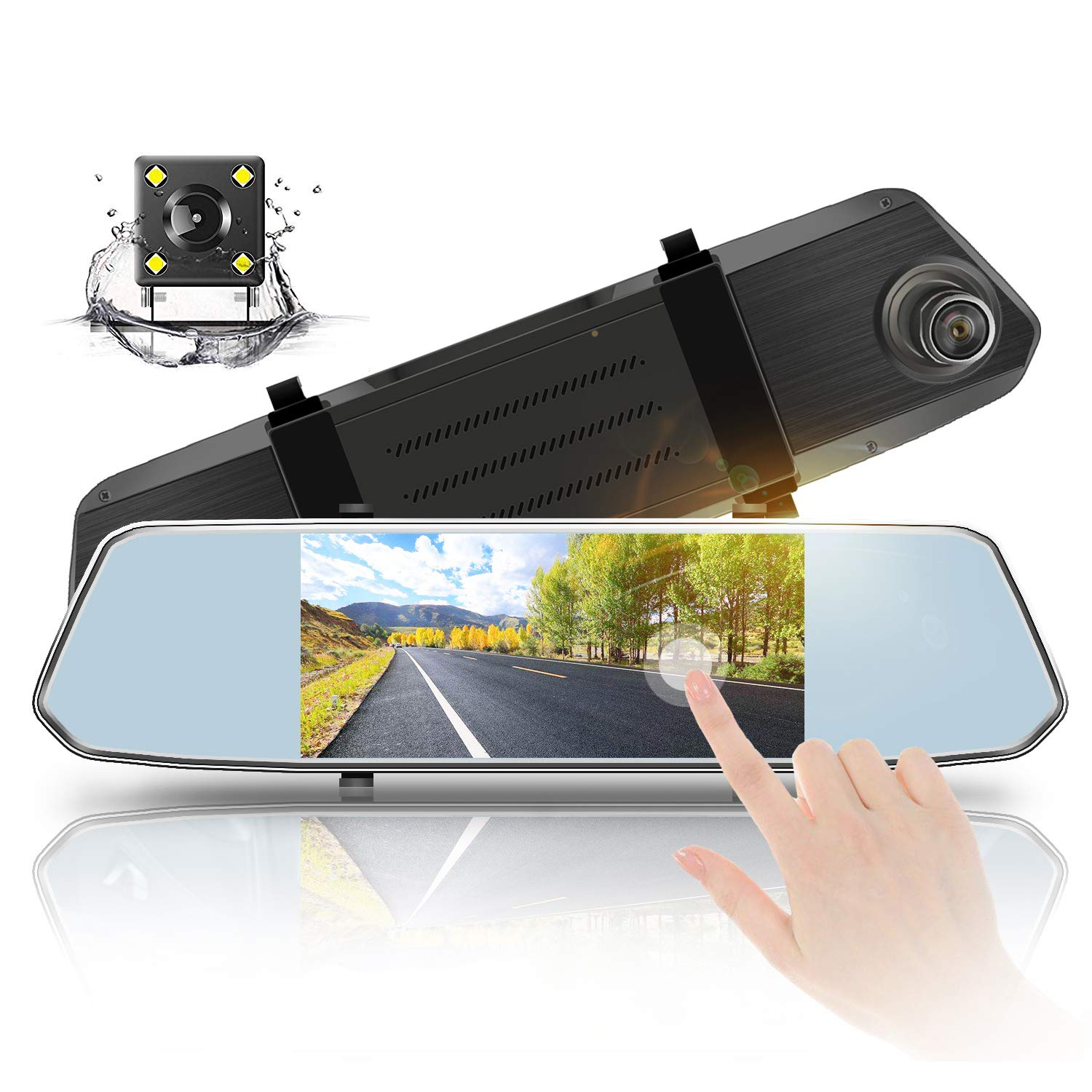 Aoxun Mirror Dash Camera 7'' Touch Screen - Dual Lens 1080P HD Front 720P HD Wide Angle Backup Camera with G-Sensor and 24-Hour Parking Monitor
