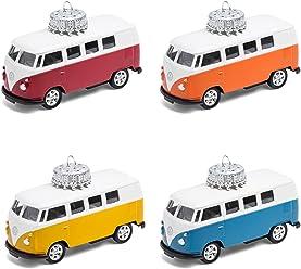 corpus delicti :: Christbaumschmuck – die rollende Alternative zur Weihnachtskugel – VW Bus T1 Bulli – 4er Set gemischt (blau, gelb, orange, rot)