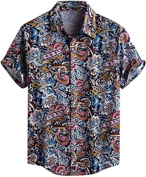 HULKY Camisas Hombre Manga Corta Tallas Grandes Camisas Estampadas Camisas Flores Camisas Fiesta Camisas Hawaianas Camisas Playa Verano Vacaciones Tops Casual T Shirt Hombre: Amazon.es: Ropa y accesorios