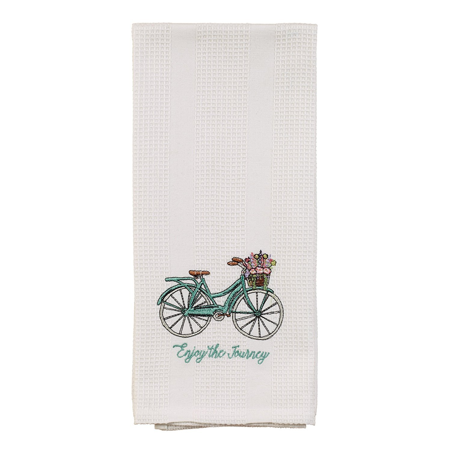 White Enjoy the Journey Teal Bicycle Basket 19 x 28 Inch Embroidered Cotton Waffle Dish Towel The Country House Collection