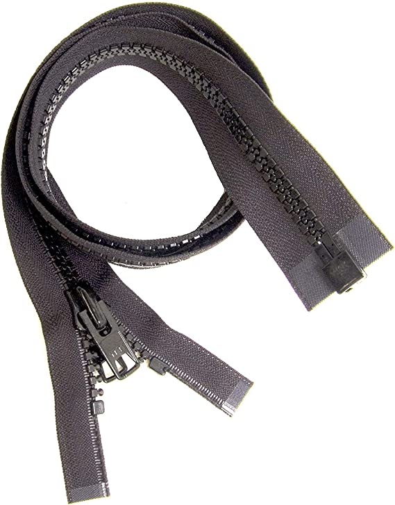 Black zipper 80cm double slider separable plastic