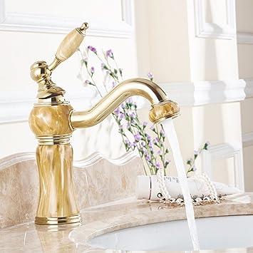 Tourmeler Luxury Style Gold Orange Jade Malerei Aus Massivem Messing  Badezimmer Waschbecken Wasserhahn Mischbatterie, Kran