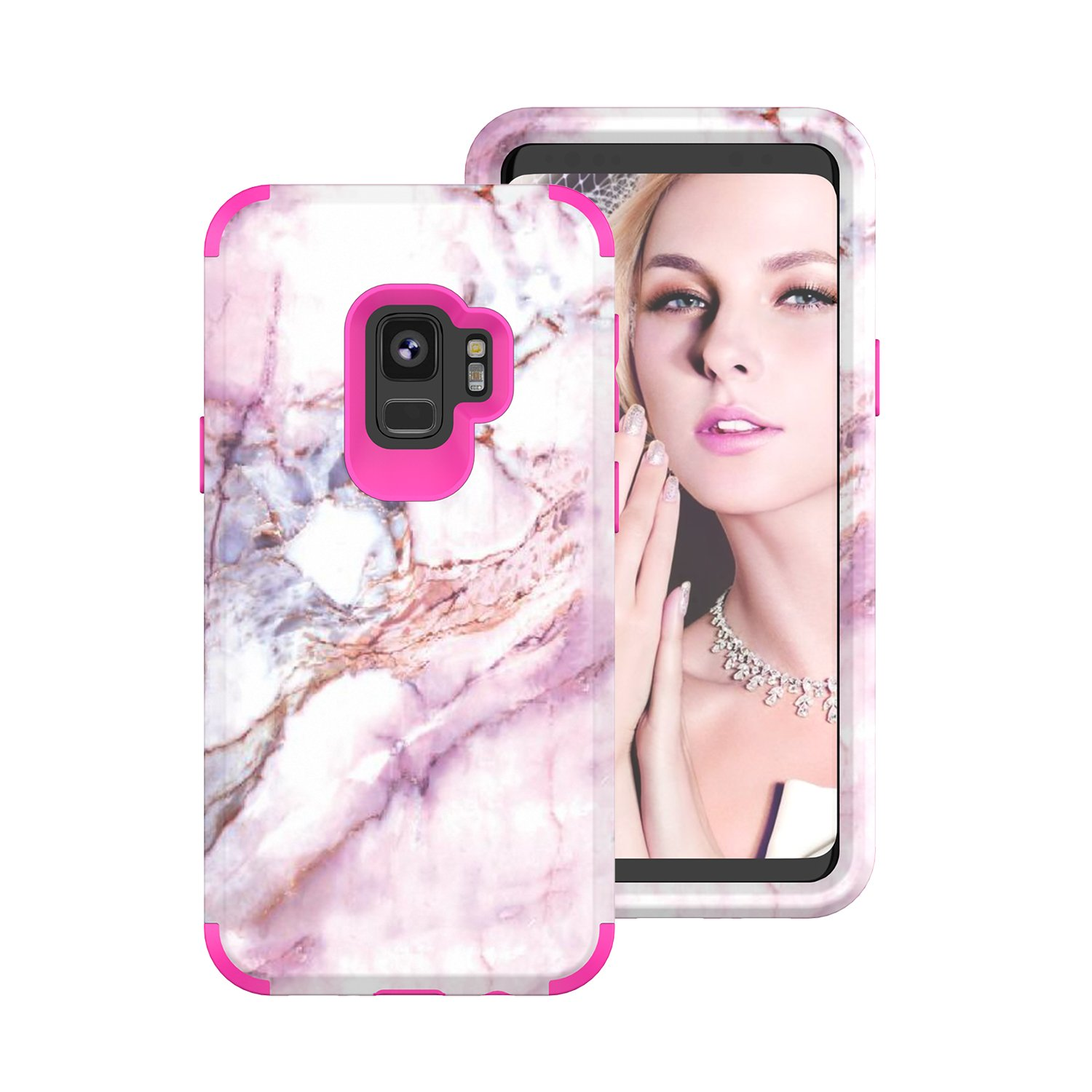 Galaxy S9 Plus Full Protective Case S9 Plus Marble Rose Gold Case, Gostyle Stylish Slim 3 in 1 Shockproof Hybrid Hard PC Soft Silicone Anti-Scratch Anti-Drop Armor Defender Bumper Cover