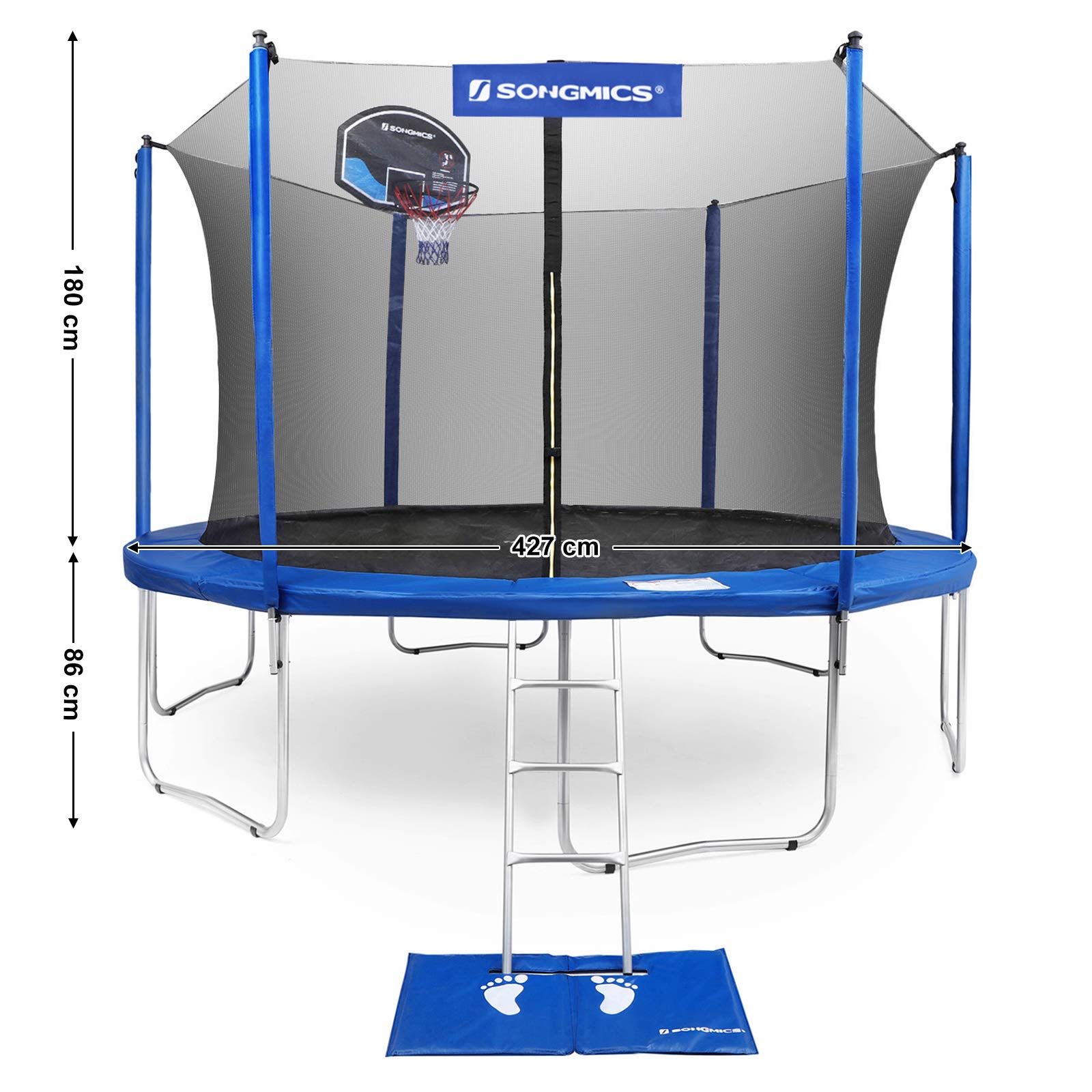 SONGMICS Outdoor Trampoline 14-Feet for Kids with Basketball Hoop and Backboard Enclosure Net Jumping Mat and Safety Spring Cover Padding TÜV Rheinland Certificated According to ASTM and GS USTR14BU by SONGMICS (Image #6)