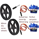 2 Pack FS90R 20.86oz Continuous Rotation Micro Servo Arduino with wheels, set-point driver