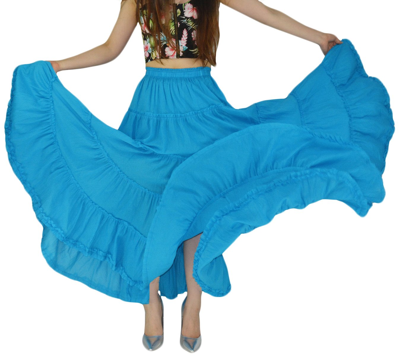 YSJERA Women's Cotton 5 Tiered A Line Pleated Maxi Skirt Long Swing Dance Skirts (One Size, Sky Blue)