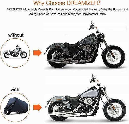 Protecci/ón UV-L DREAMIZER Impermeable Funda para Moto Lluvia Cubierta Motocicleta con Orificio de Bloqueo para Street Sport Bike Interior Polvo Nieve Exterior