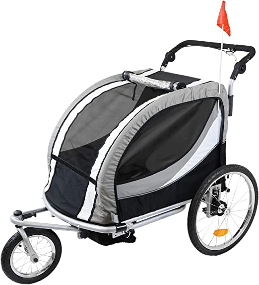 Clevr Deluxe 3-in-1 Double 2 Seat Bicycle Bike Trailer Jogger Stroller - Best For Material