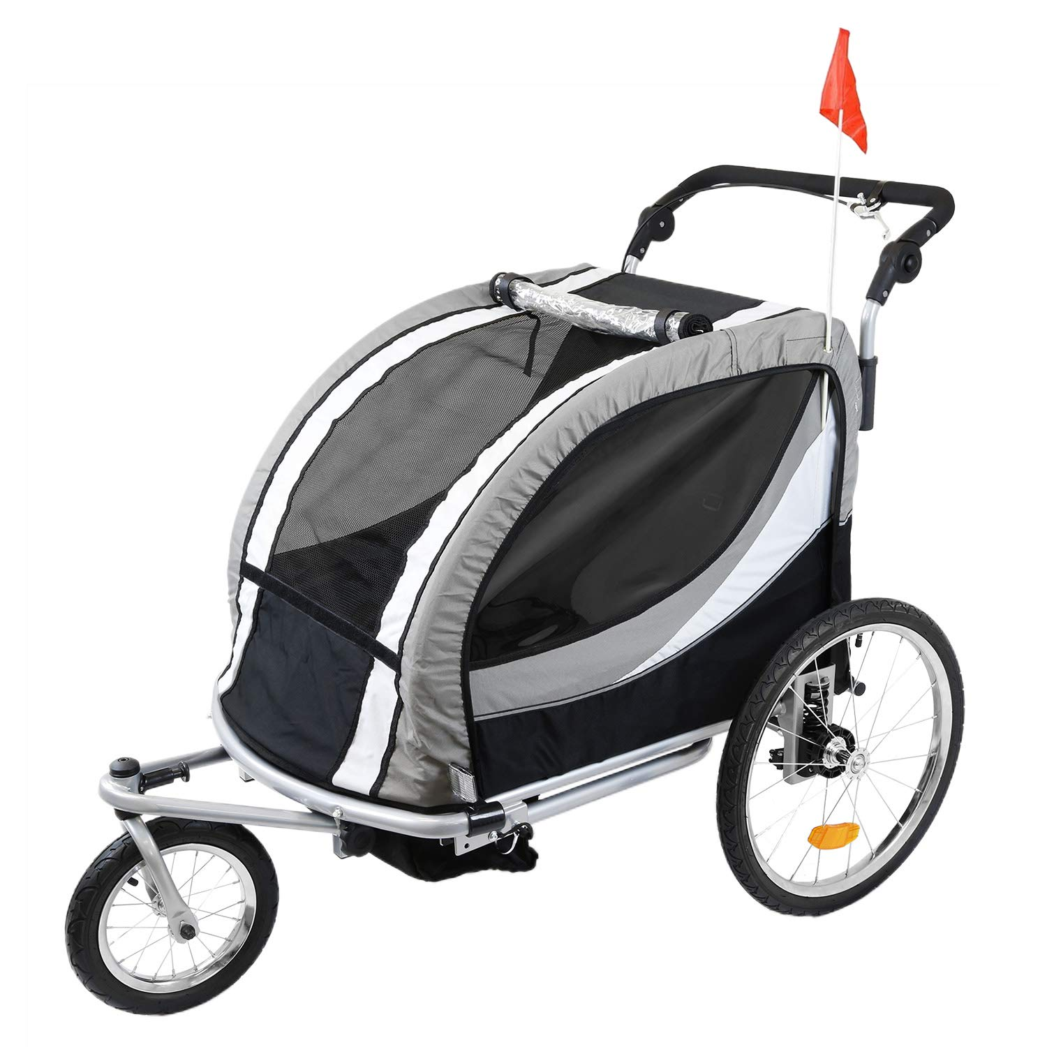 Clevr 3-in-1 Double 2 Seat Bicycle Bike Trailer Jogger Stroller for Kids Children | Foldable Collapsible w/Pivot Front Wheel, Grey by Clevr