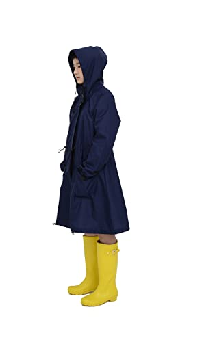 tiohohレインコートレディース合羽女性用撥水雨具防水収納袋付き通学便利なファスナーフード付き調整可能軽量おしゃれ無地落ち着いたカラー(ネイビー)