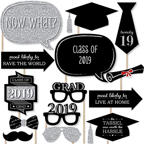 image about Graduation Photo Booth Props Printable identify Commencement Get together - Silver - 2019 Photograph Booth Props Package - 20
