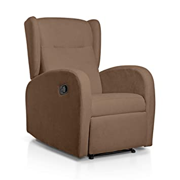 Sueños ZZZ | Sillon relax reclinable HOME tapizado tela antimanchas marron | Sillon reclinable butaca relax | Sillon orejero individual salon | Butaca ...
