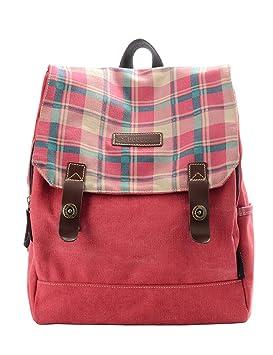 Douguyan Mochilas escolares para Mujer Moda Bolsa de Viaje de Lona y PU cuero 138 Rojo: Amazon.es: Equipaje