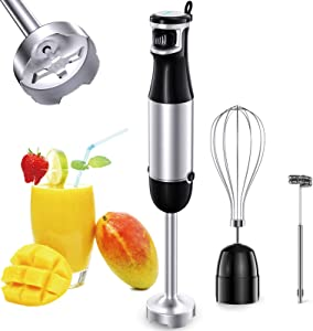 COMSOON 3-in-1 Immersion Blender, 500W Smart Stepless Speed Hand Blender, Multifunctional Stick Blender with Detachable Shaft, Whisk & Milk Frother for Making Soup/Smoothies/Puree/Baby Food/Cake