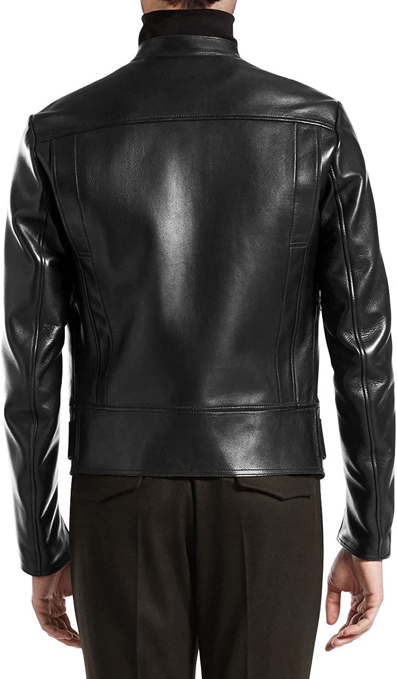 Kingdom Leather New Men Motorcycle Black Cowhide Cow Leather Jacket Coat Size XS S M L XL XC085