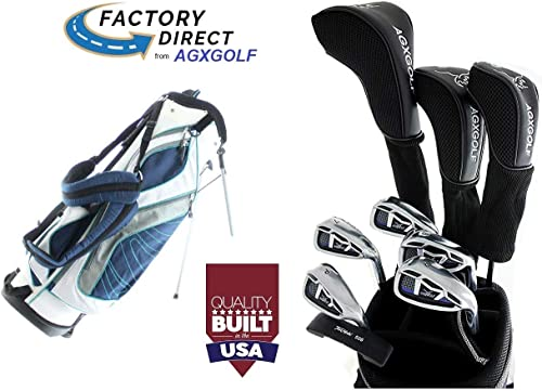New AGX Ladies Right or Left Hand Ladies LT Golf Club Set w Stand Bag, Driver, 3 Wd, Hybrid, 5-9 Irons, PW, Free Putter Petite, Regular or Tall Length USA Built