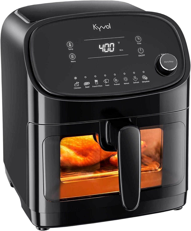 Fryers Roast Crisp Kyvol Air Fryer 6 Quarts Large XL AF60 with 8 ...