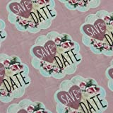 Save the Date Pink Floral Square Stickers x 30 - Wedding Engagement Save the Date / Party