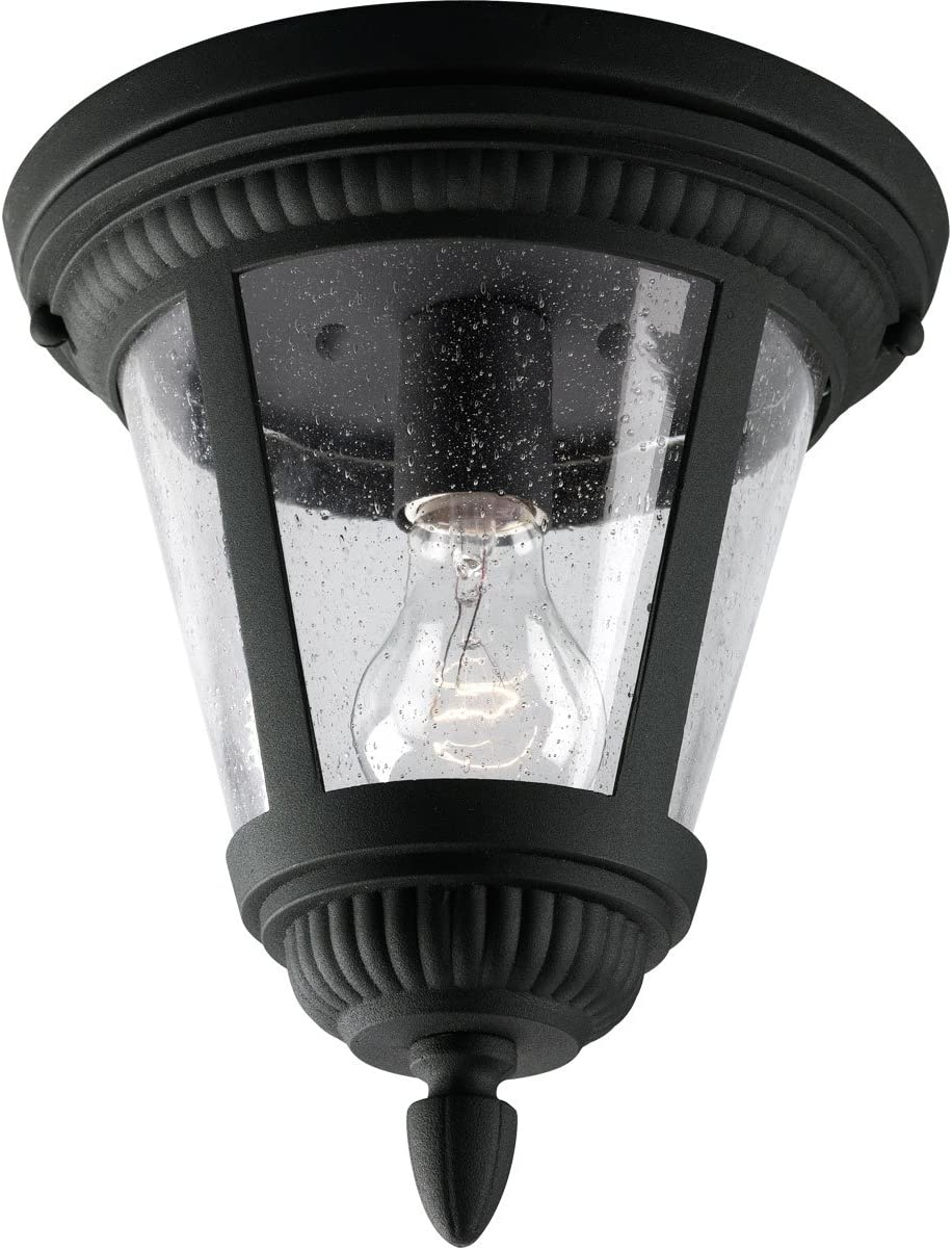 Progress Lighting P3883-31 1-Light Close-to-Ceiling with Clear Seeded Glass, Black