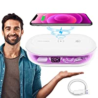 Phone Cleaner Box & 10W Max Fast Wireless Charger, 2/10 Mins Fast Phone Cleaner Box, 3 in 1 Phone Cleaner with Aroma Diffuser for Cell Phone, Watches, Jewelry, Glasses, Key, Gift for Family Men
