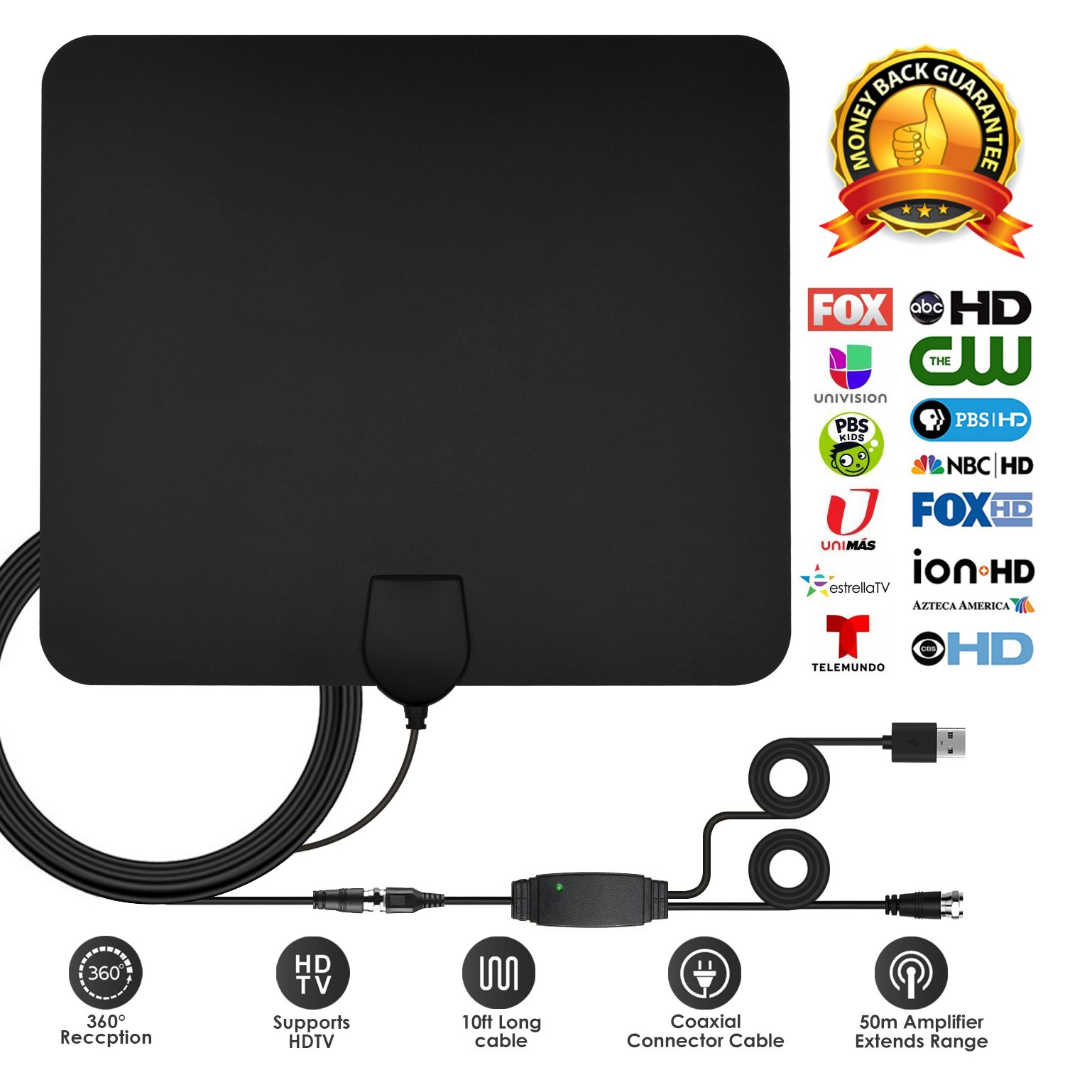 TV Antenna, 2018 Upgrade Digital HD Indoor TV Antenna 50-80 Mile Range 4K HD Freeview Local Channels & Detachable Amplifier and 10+2.62 ft Coax Cable