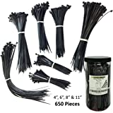 "Nylon Cable Tie Kit - 650 Pieces - Assorted Lengths 4"", 6"", 8"", 11"" - Black"
