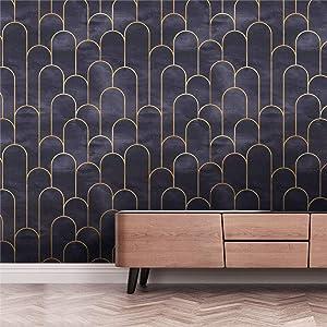 Modern Black Purple Stick and Peel Removable Vinyl Wallpaper Thick Matte Wallpaper for Bathroom Bedroom Decor Aesthetic self Adhesive Wallpaper Peel and Stick Shelf Drawer Liner 17.7