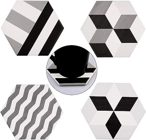 esagonali KYEYGWO con retro in sughero pietra per decorazione domestica #1-multicolour Set di 4 sottobicchieri con diatomite naturale assorbente