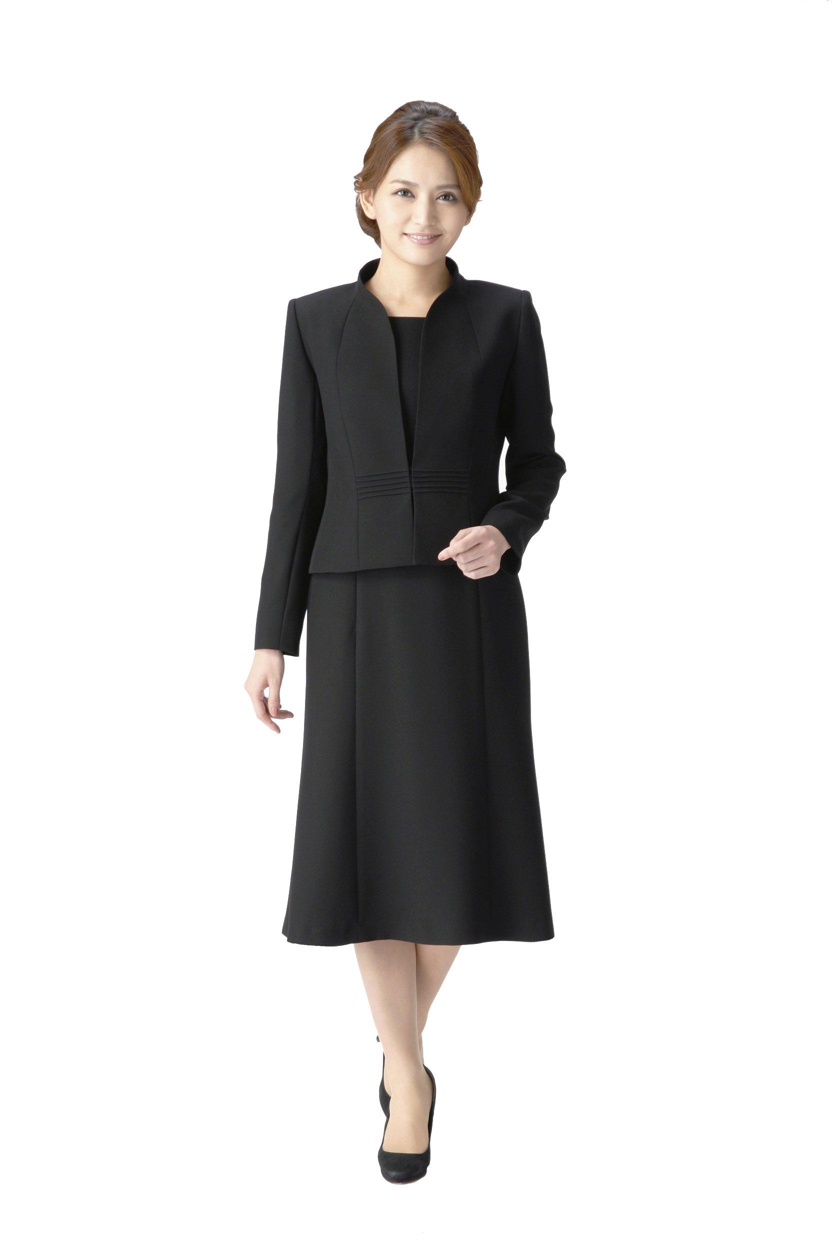 5bba804ff6dc0 マーガレット)marguerite ブラックフォーマル レディース 喪服 礼服 前開きワンピース アンサンブル m461 product image