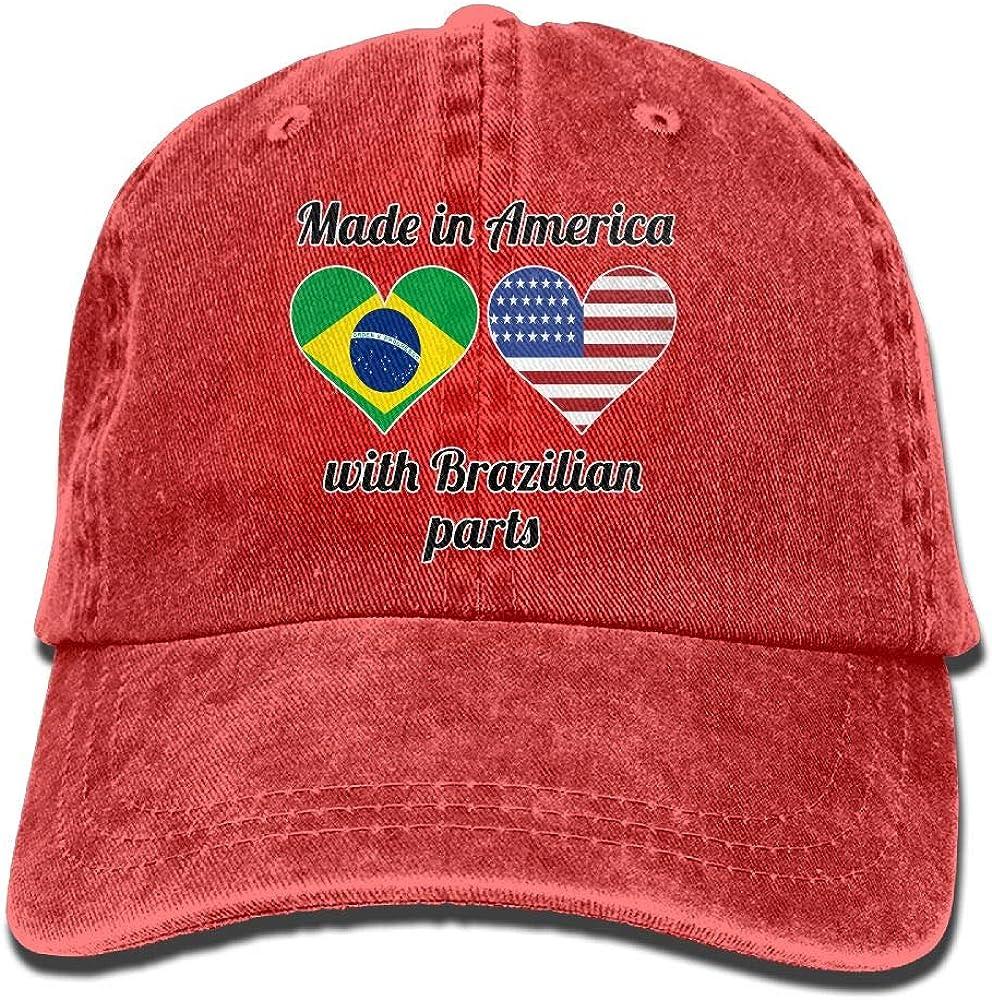 XKAWPC Made in America with Brazilian Parts Vintage Denim Cap Adult Unisex Adjustable Cap