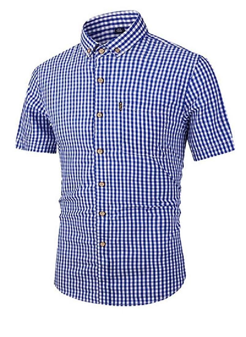 Hajotrawa Mens Pocket Short Sleeve Plaid Slim Button Down Shirts
