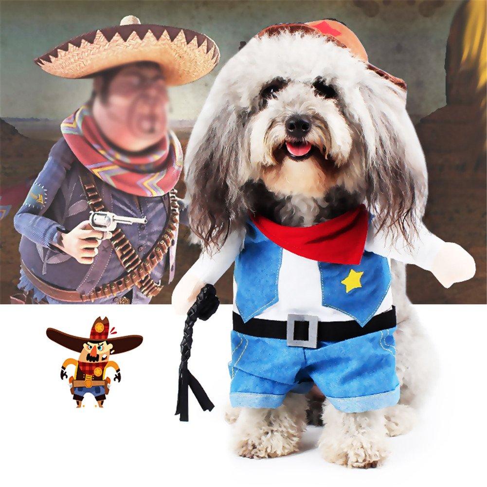 Aution House - Costume drôle pour animal domestique - Police, marin, cowboy - Costumes pour chiens et chats - Pour Noël, anniversaires, mariages, parades, photos ou sortir jouer - Vêtements chat et petits chiens Huston Lowell