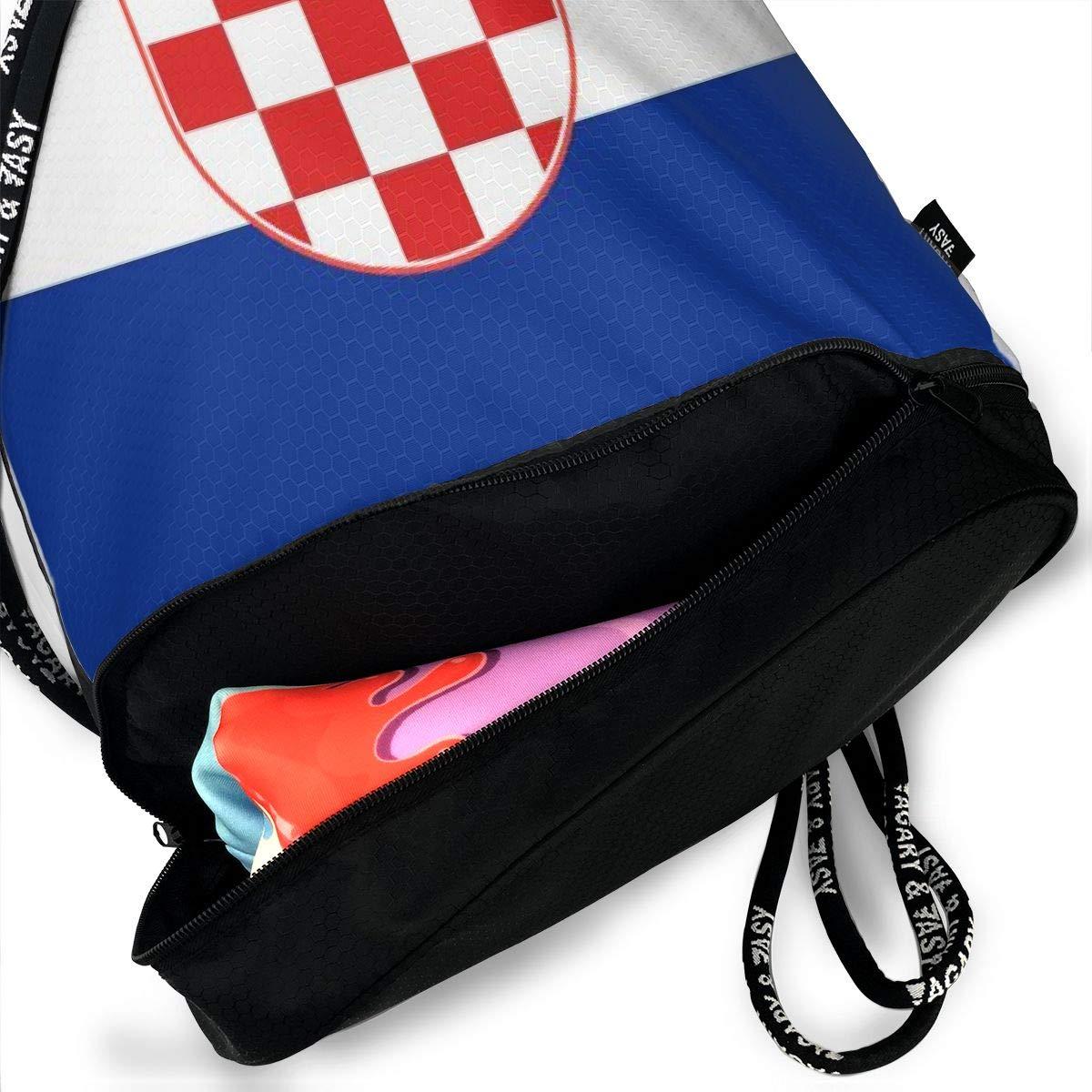 Lightweight Waterproof Large Storage Drawstring Bag For Men /& Women Croatia Flag Cinch Backpack Sackpack Tote Sack