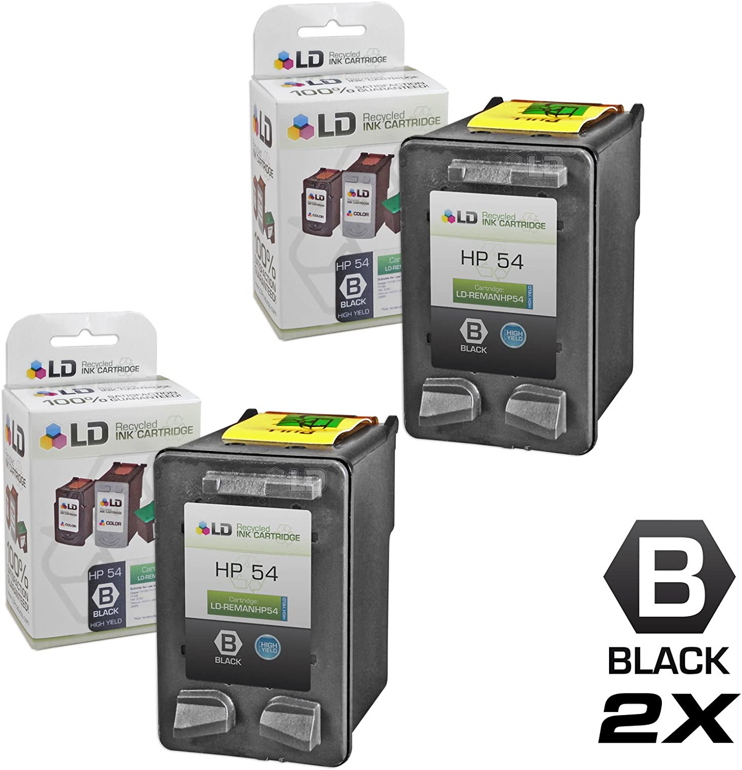 LD Products Remanufactured Ink Cartridge Replacement for HP CB334AN ( Black , 2-Pack )
