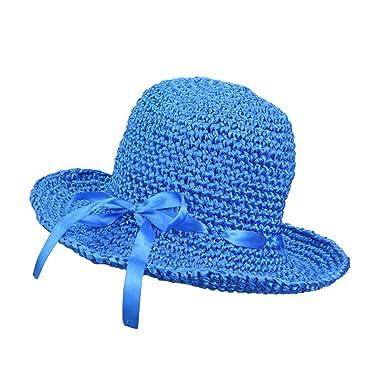 Women s Summer Beach Sunscreen Sun Hat Folding Wide Brim Cap Handmade  Ribbon Weaving Cap for Small 6a2aa7ce5c5