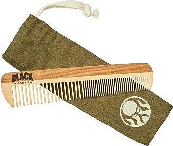 Pente De Madeira Para Barba Reto Duplo Dentes Largos + Bag Exclusiva Black Barts®