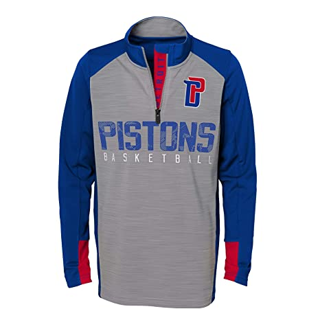 quality design bd53c c9584 NBA by Outerstuff NBA Kids & Youth Boys Detroit Pistons Shooter 1/4 Zip  Long Sleeve Top, Grey, Youth Large(14-16)