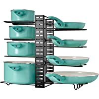 Extensible Pan Rack for Kitchen, 8 Tiers Adjustable Pot and Pan Organizer Rack for Cabinet, Pot Holder Rack Fit for…