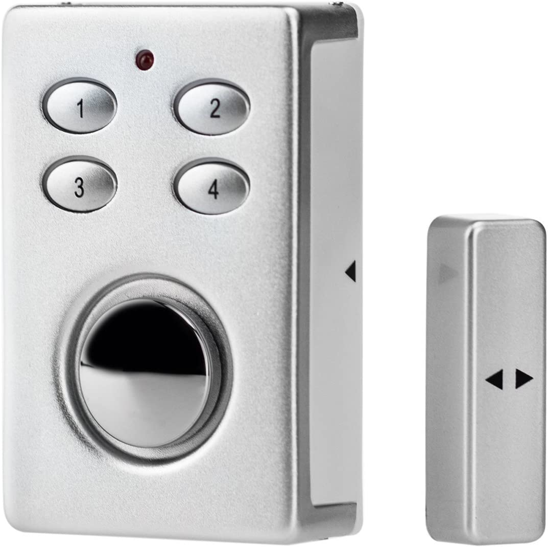 2-In-1 Vibration Door//Window Alarm With Solar Panel Keypad Entry 130dB Siren