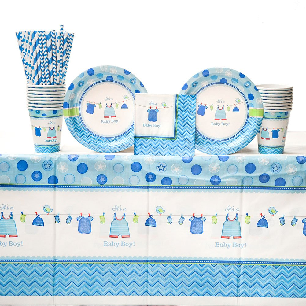 Shower with Love Boy Baby Shower Party Supplies Pack for 16 Guests: Straws, Dessert Plates, Beverage Napkins, Table Cover, and Cups