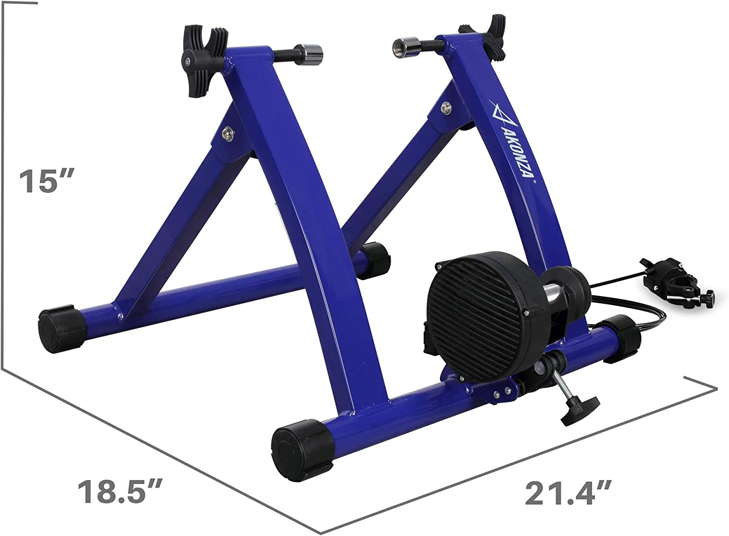 AKONZA Magnet Steel Bike Bicycle Indoor Exercise Trainer Stand Black//Blue