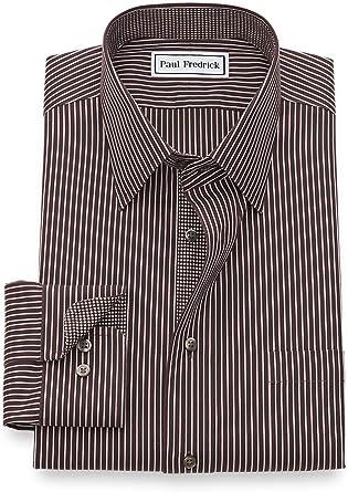 Paul Fredrick Mens Non-Iron Cotton Solid Point Collar Dress Shirt