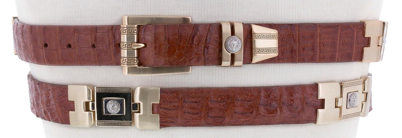 El Presidente Mens Rust Cognac Real Crocodile Skin Exotic Cowboy Belt Gold Links