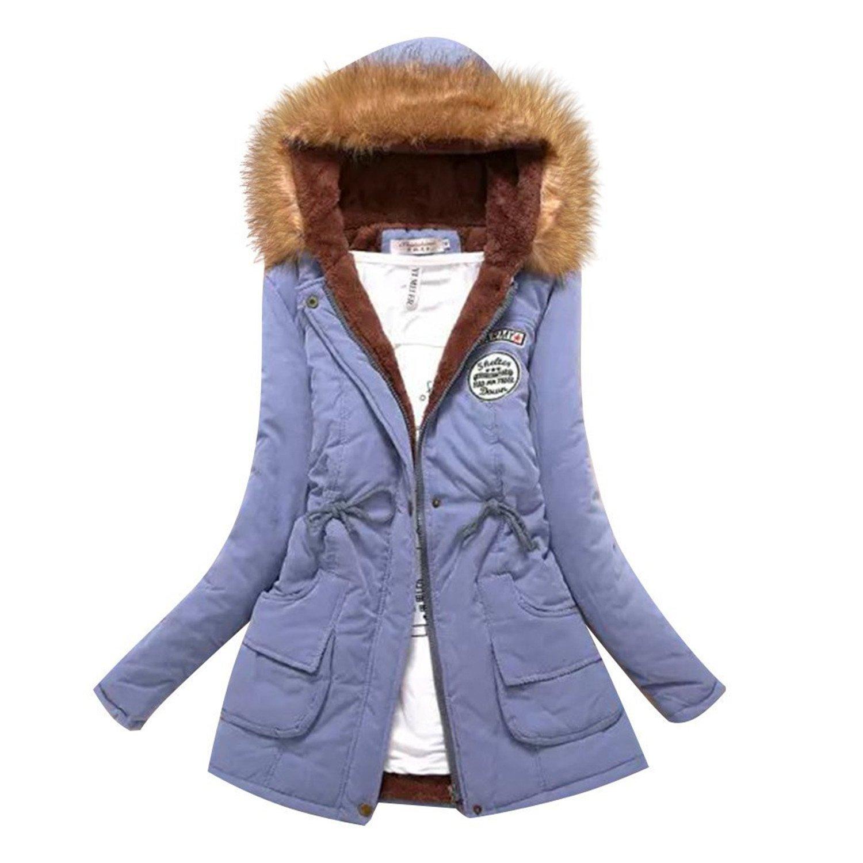 Labaqiangj Women's Faux Fur Hooded Cotton-Padded Parka Long Jacket