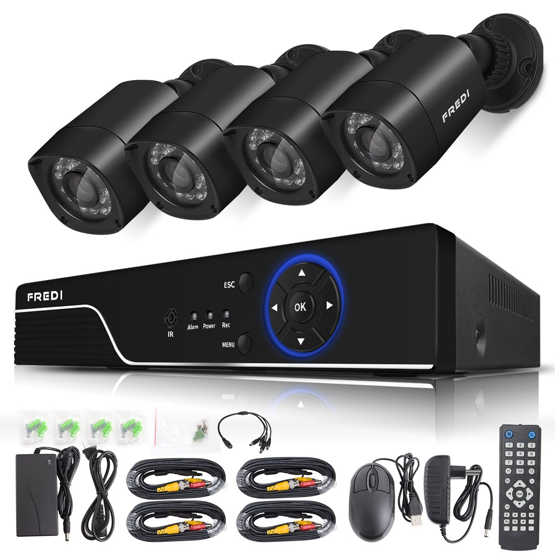 FREDI Security Camera System 8-Channel HD-TVI 1080P Lite Video Security System DVR and (4) 1.0MP Indoor/Outdoor Weatherproof Cameras with IR Night Vision LEDs- Without HDD by FREDI (Image #1)