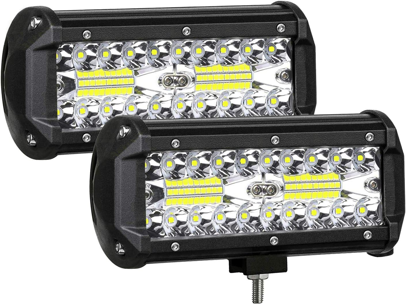 Zmoon LED Light Bar Blue 7in 240W 24000LM Off Road Driving Light 2pcs Waterproof Pod Light with DRL//Angel Eye Spot/&Flood Combo Beam Work Light for SUV//ATV//Jeep//Boat